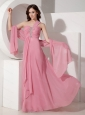 Long Pink Empire One Shoulder Beading Dama Dress 2013
