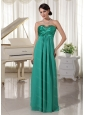 Long Turquoise Sweetheart Beaded Dama  Dress For 2013