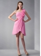 One Shoulder Hand Made Flower Rose Pink Dama Dress
