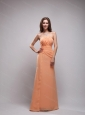Orange Column Strapless Ruch Dama Dress