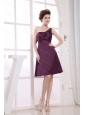 Purple One Shoulder Knee-length Cheap Dama Dress