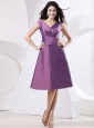 Purple V-neck Bow Cheap Dama Dress On Sale