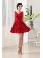 Red V-neck Ruching Chiffon 2013 Dama Dresses On Sale