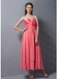 Rose Pink Chiffon Steapless Ankle-length Dama Dress