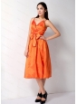 Straps Orange Bowknot Cheap Dama Dress