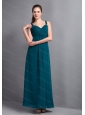Turquoise Chiffon Ruch Ankle-length Dama Dress