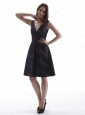 V-neck Taffeta Knee-length Cheap Dama Dress
