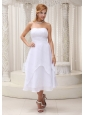 White Tea-length Ruched Cheap Dama Dress