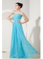 2013 Aqua Blue Sweetheart Ruch Chiffon Dama Dress