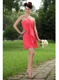 2013 Short Coral Red Straps Empire Mini-length Dama Dress