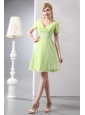 2013 V-neck Short Yellow Green Sequin Dama Dress
