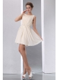 Champagne Sccop Empire Short Dama Dress With Sash