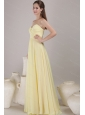 Discount Yellow Empire Sweetheart Neck Pleats Long Dama Dress