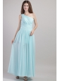 Fashionable Ruch One Shoulder Ankle-length Dama Dress