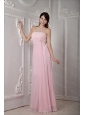 Long Baby Pink Strapless Chiffon Dama Dress For Quinceanera