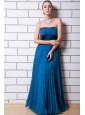 Pleat Empire Floor-length Organza Blue Dama Dress