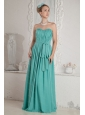 Ruch and Sash Sweetheart Floor-length Turquoise Dama Dress