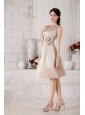 Bateau Satin Hand Made Flowers  Champagne Dama Dress