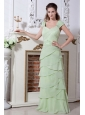 Beading and Rulles Layers Apple Green Straps Floor-length Dama Dress