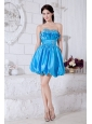 Beading Mini-length Taffeta Aqua Blue Dama Dress