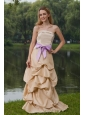 Champagne Strapless Column Sash Cheap Dama Dress