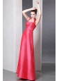 Halter  Coral Red Column Ankle-length Taffeta Dama Dress