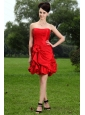 Hand Made Flower Taffeta Princess Mini-length Dama Dress