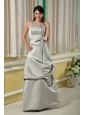 Long Grey Column Halter Satin Bow Dama Dress
