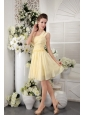 One Shoulder Light Yellow Chiffon Dama Dresses With Pleat