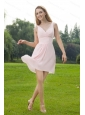 Pink V-neck Mini-length Ruch Chiffon Short Dama Dress