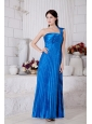 Pleat One Shoulder Tea-length Taffeta Dama Dress
