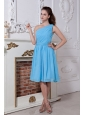 Ruch A-line / Princess One Shoulder Blue Dama Dress