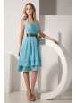 Ruch and Bow Halter Knee-length Aqua Blue Dama Dress