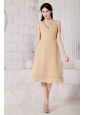 Ruch V-neck Tea-length Champagne Dama Dress