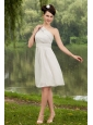 Simple One Shoulder Empire White Dama Dresses