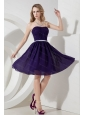 Simple Ruch Chiffon Strapless Knee-length Dama Dress