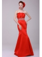 2014 Gorgeous Mermaid Straples Red Zipper Up Prom Dress with Beading
