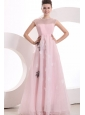 Beautiful Empire Pink Organza Appliques Prom Dress with High Neck