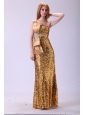 Column One Shoulder Floor-length Sequins Champagne Bowknot Prom Dress