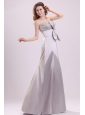 Column Strapless Beading and Bowknot Grey Taffeta Prom Dress with Floor-length