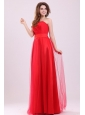 Cute Empire Sweetheart Red Floor-length Tulle Prom Dress with Ruching