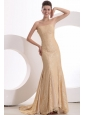 Informal Column Strapless Brush Train Lace Champagne Prom Dress