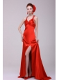 Informal Column Straps Brush Train Elastic Woven Satin Red Prom Dress with Open Back