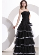 Princess Strapless Ruffled Layers Black Organza Floor-length Prom Dress
