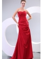Red Column Sweetheart Brush Train Affordable Ruching Prom Dress with Lace Up