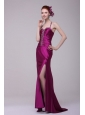 Sexy Column Straps Beading Elastic Woven Satin Brush Train Fuchsia Prom Dress with Criss Cross
