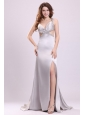 Sexy Column V neck Grey Watteau Train Beading Elastic Woven Satin Prom Dress with Criss Cross
