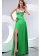 Sexy Sweetheart Spring Green Elastic Woven Satin Brush Train Beading and Paillette Prom Dress with Column