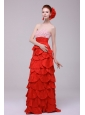 Wonderful Column Sweetheart Red Floor-length Prom Dresses with Beading