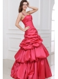 A-line Beaded Decorate One Shoulder Floor-length Prom Dress in Coral Red